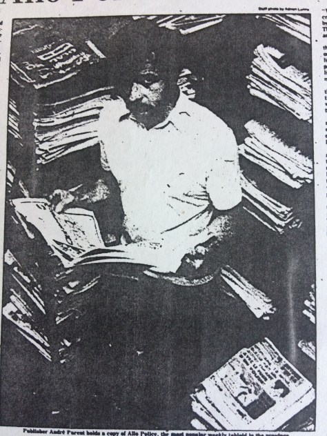 Allo Police publisher Andre Parent in 1979