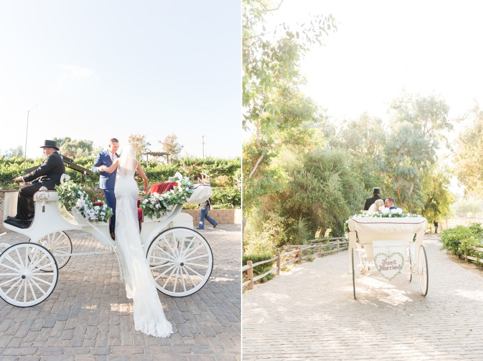 Southern California Wedding Photographer Bride and Groom in horse and carriage Lake Oak Meadows by Theresa Bridget Photography