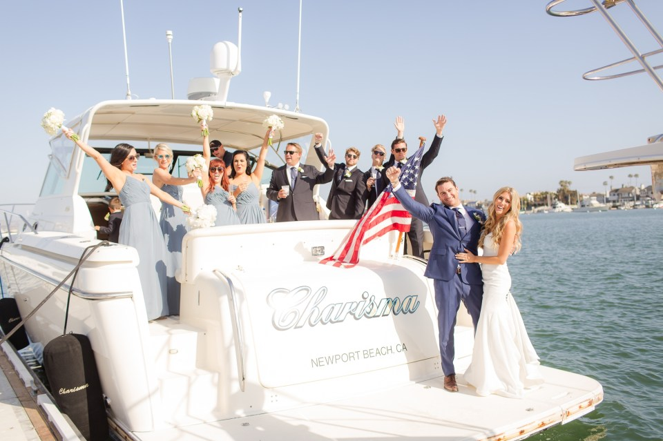 Wedding Party on a yacht newport beach wedding photo