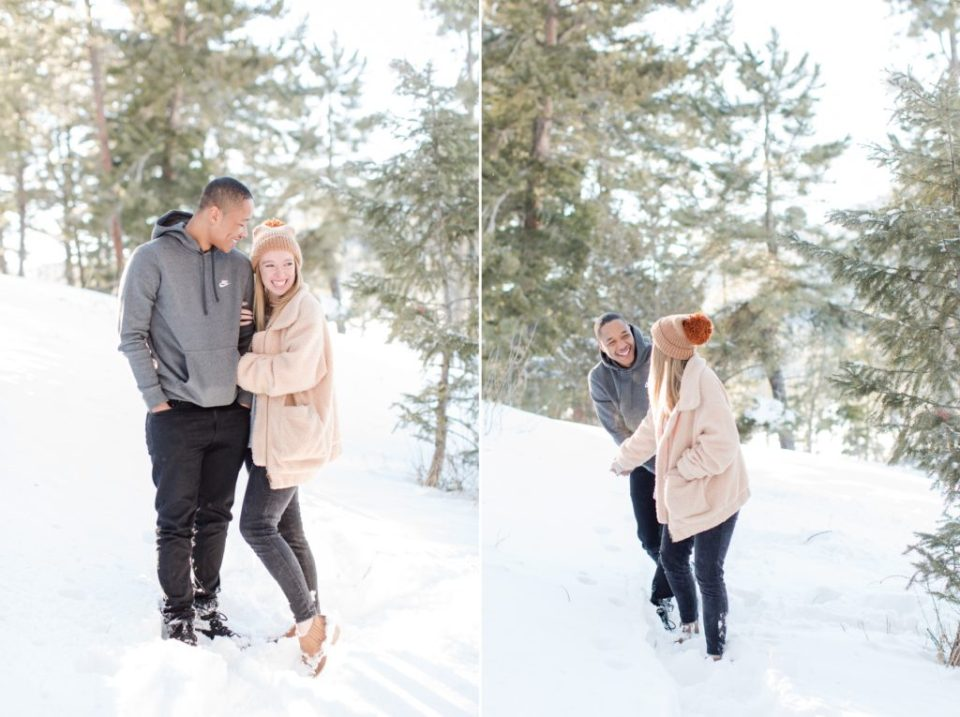 Winter engagement session in Denver Colorado.
