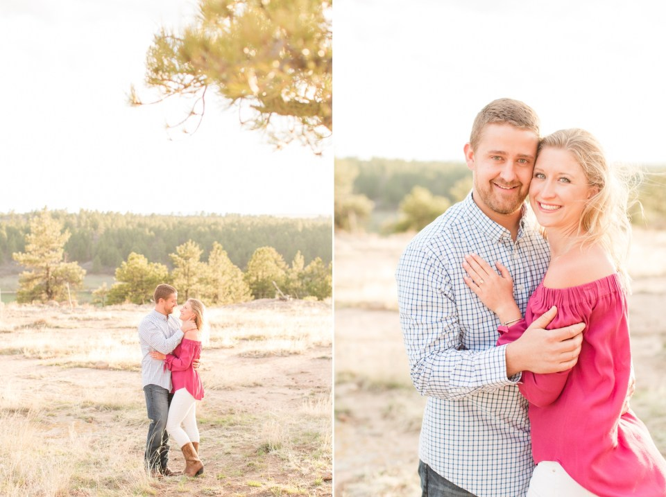 Mountain view engagement session at Castlewood State Park in Colorado. Engagement Session in Castlewood State Park.