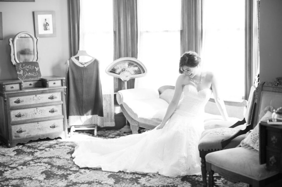 Bride inside the Kellogg house at Heritage Museum Orange County