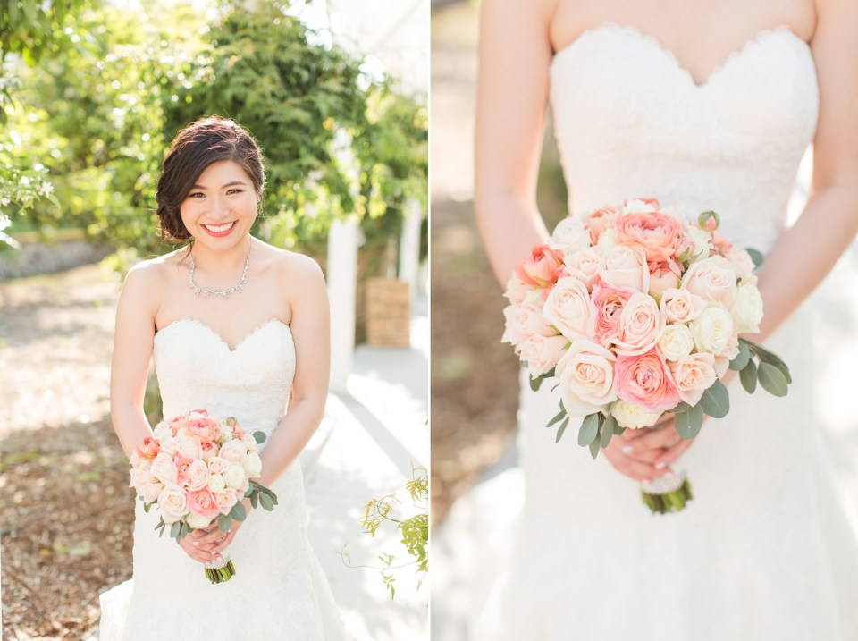 Bride with blush wedding flowers