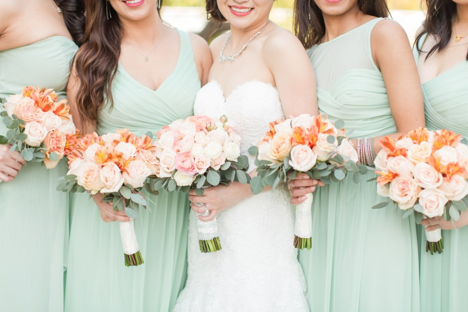 Blush flowers with mint bridesmaid dresses