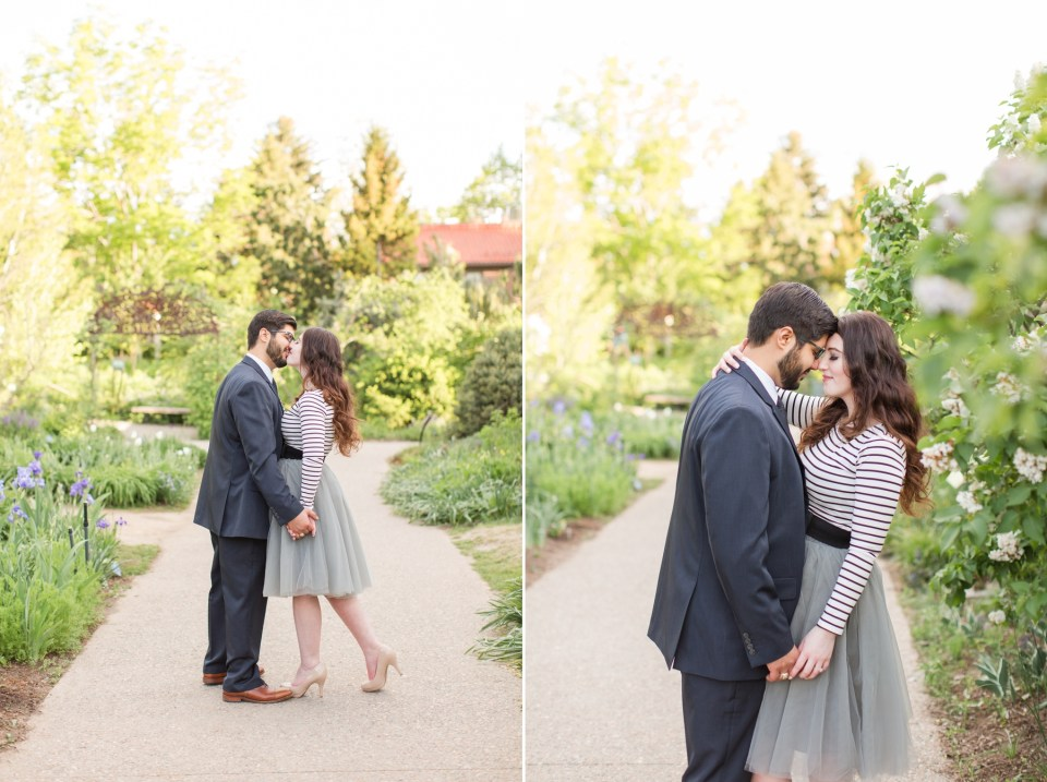 Spring engagement session at Denver Botanical Gardens with lots of flowers blooming.