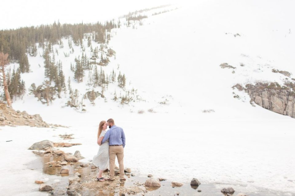 St. Mary's glacier engagement session. Best winter engagement session locations in Colorado.