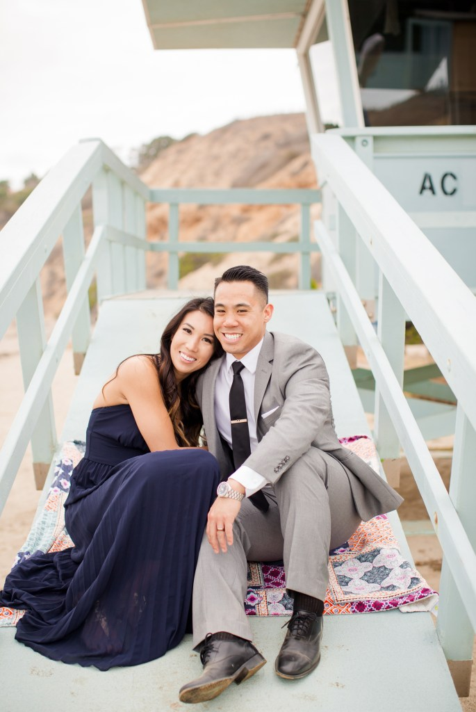 Couple in formal wear for an engagement session in Palos Verdes California. Photographed by destination wedding photographer Theresa Bridget Photography.