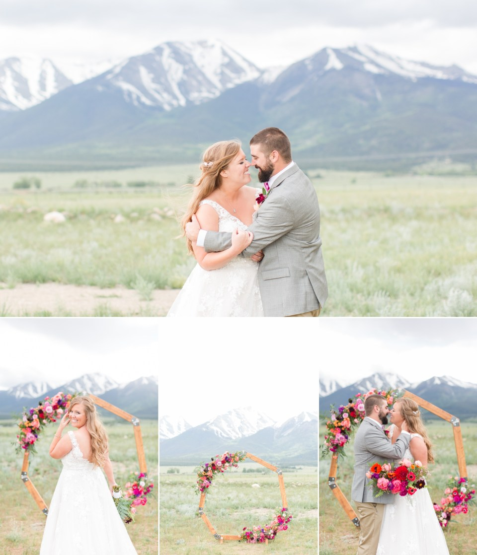 Spring wedding at the Barn at Sunset Ranch in Buena Vista Colorado. Mountain wedding with bold colored flowers from Lace and Lillies