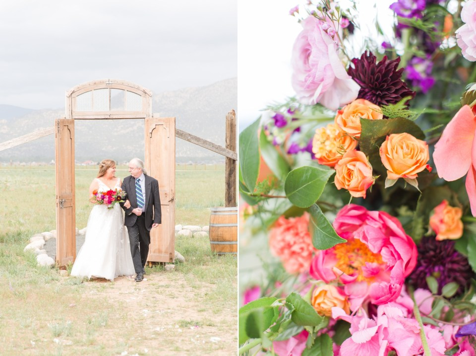 The barn at sunset ranch wedding venue with mountain views in Buena Vista Colorado.