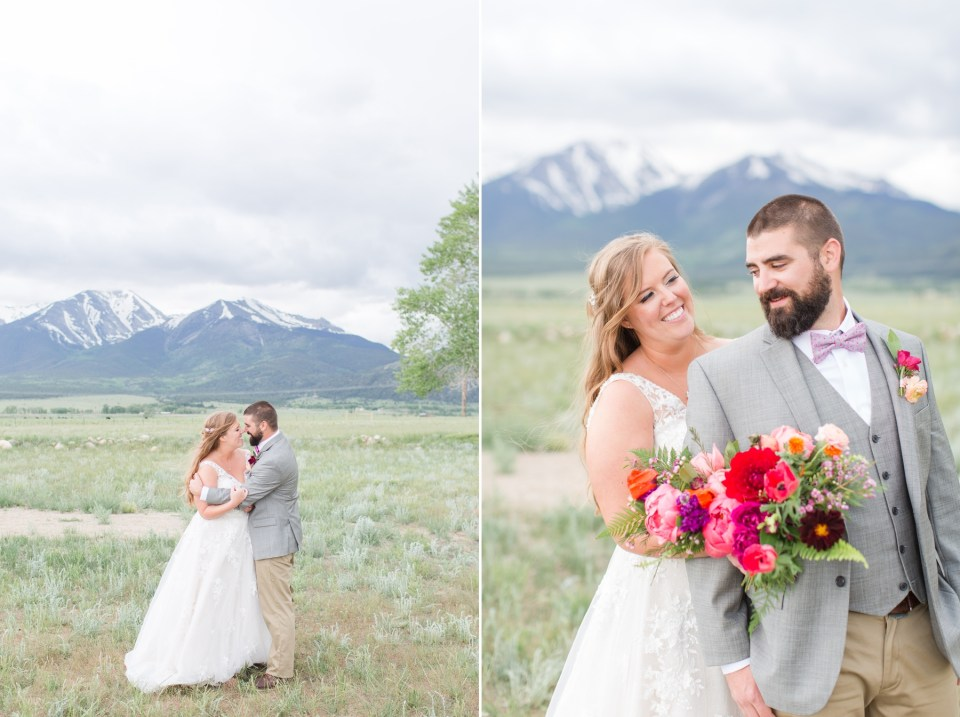 Couple portraits at The barn at sunset ranch wedding venue with mountain views in Buena Vista Colorado.