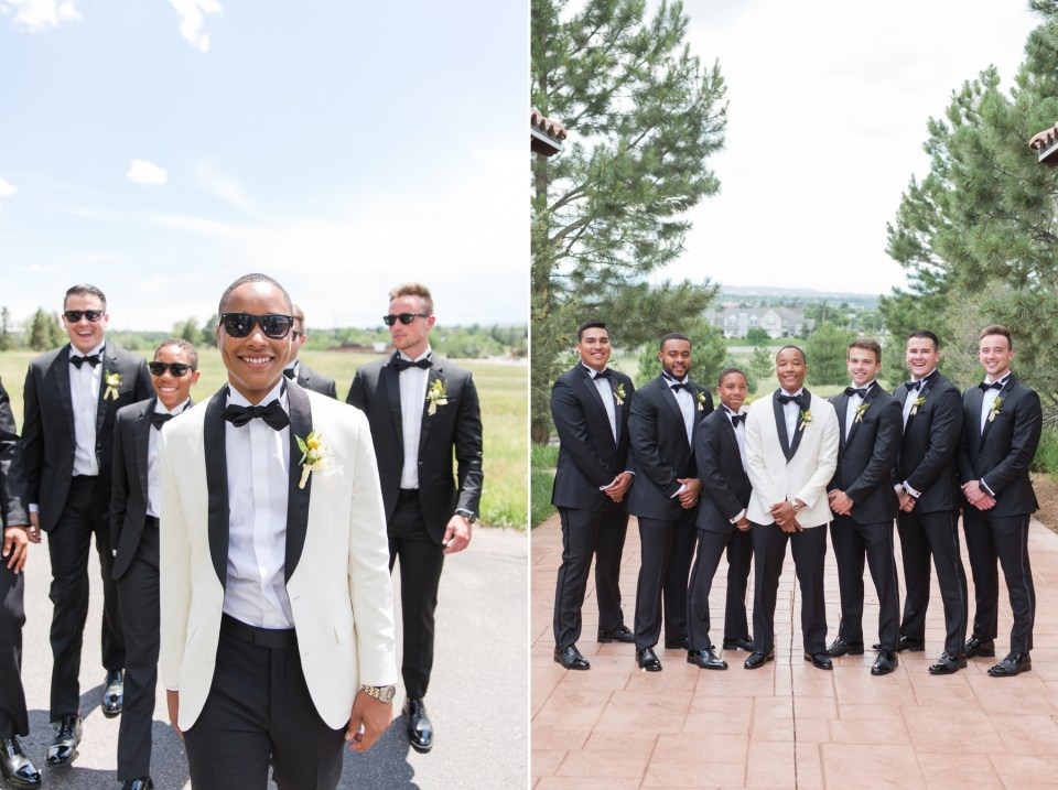 Groom in white coat at the Villa Parker in Parker Colorado.