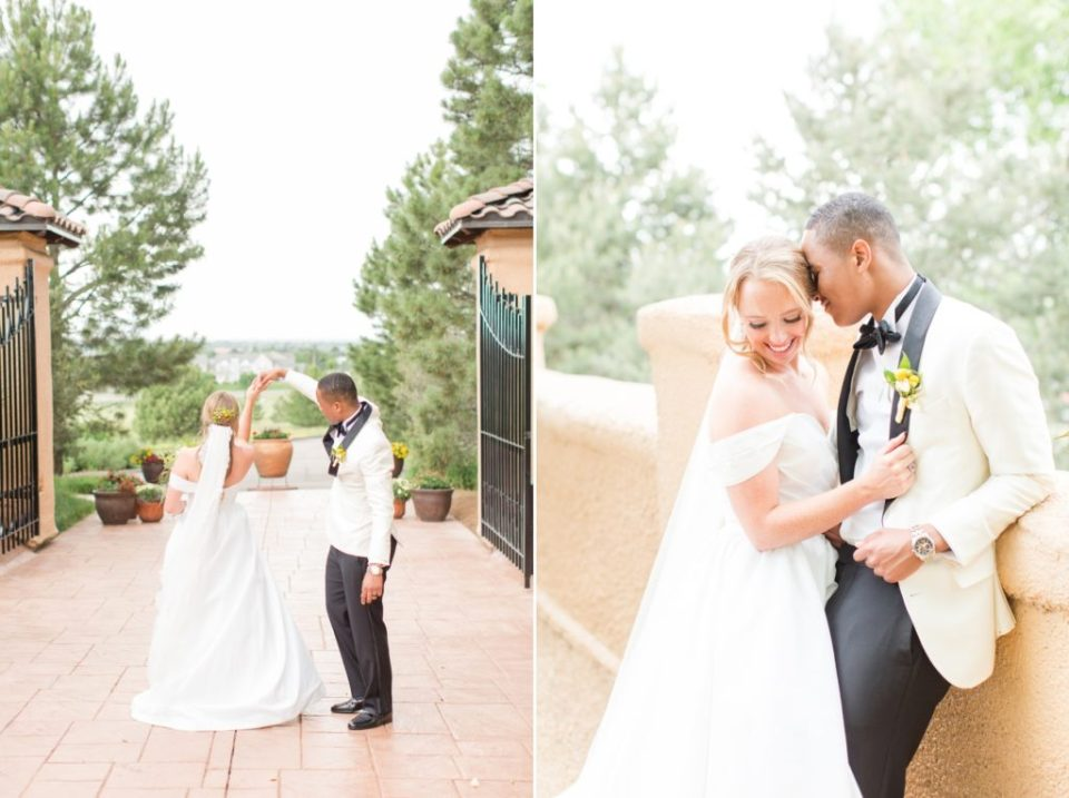 Villa Parker wedding in Parker Colorado. Playful wedding photos of a bride and groom.