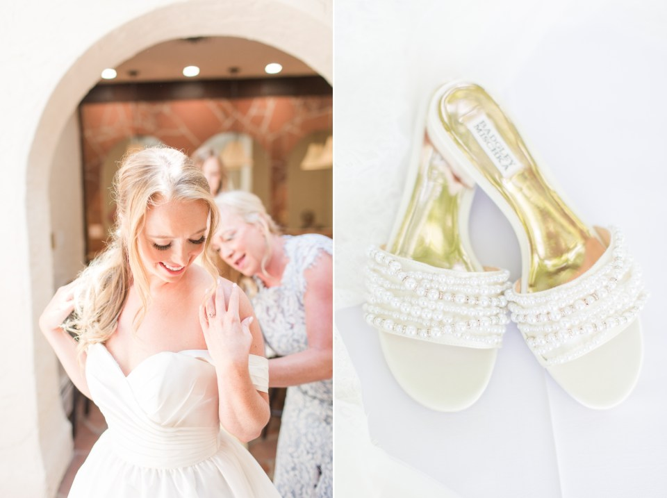 White Pearl Badgley Mischka wedding day flats.