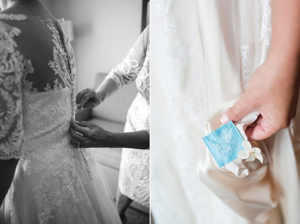 Something old, something new, something borrowed, and something blue idea for a Colorado wedding.