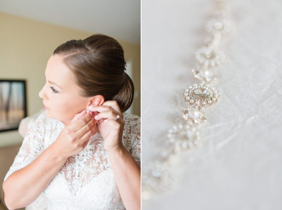 Bride putting on her earrings for a Ken Caryl Wedgewood Colorado wedding.