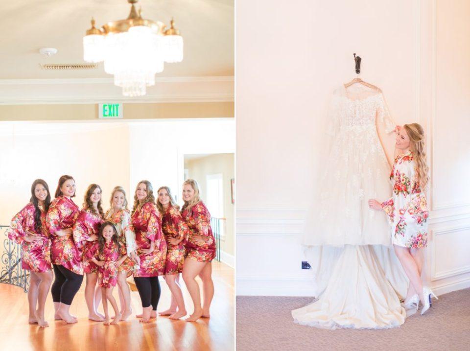 Wedding dress handing in Highland Ranch Mansion bridal suite.