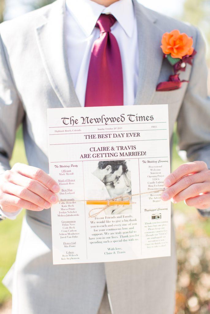 Custom wedding programs that look like newspapers.