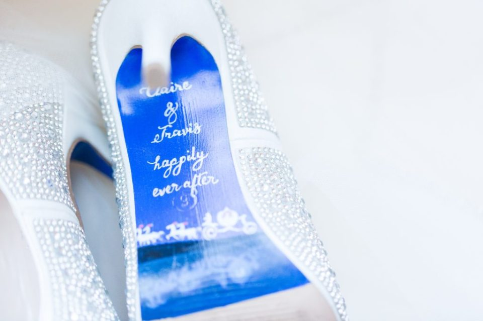 Custom painted wedding shoes with Disney theme.