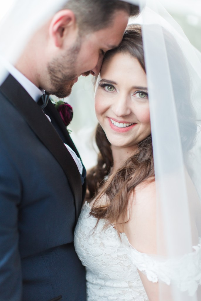 Close up pose of bride and groom