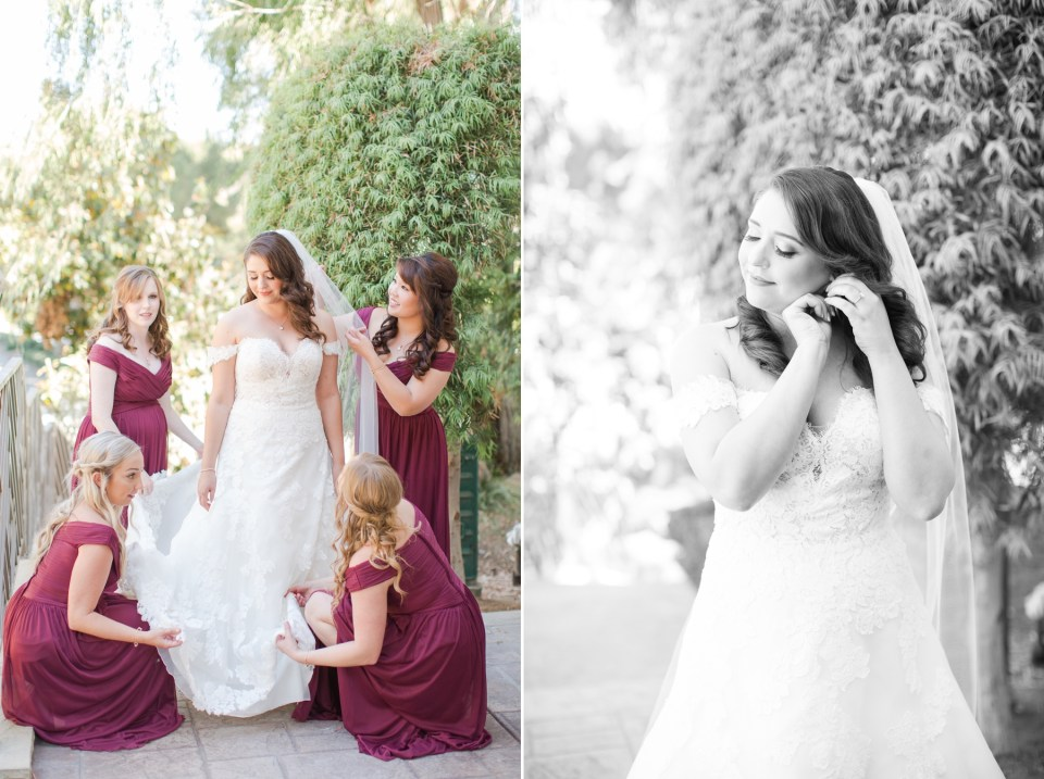 Bridesmaids in wine colored Davids Bridal Bridesmaid dresses helping a bride get ready on wedding day.