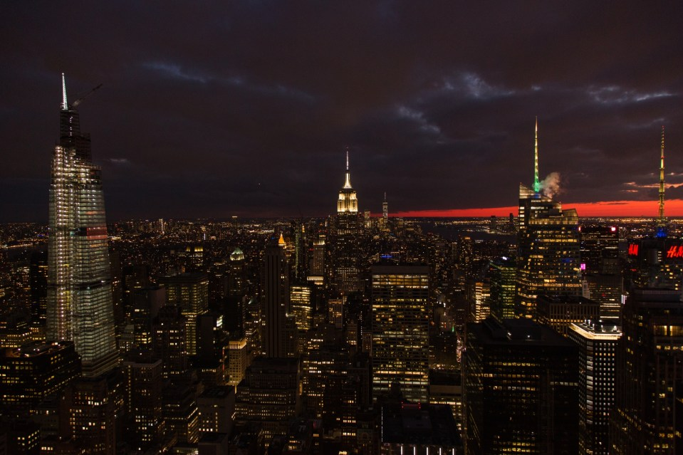 New York city skyline at night, view from top of the rock. Fall sunset in new York City.
