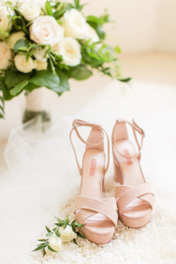 Comfortable and stylish wedding shoe inspiration. Blush wedge wedding shoes