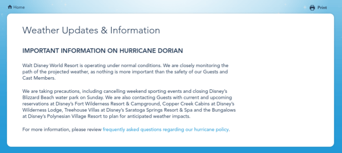 disney weather statement