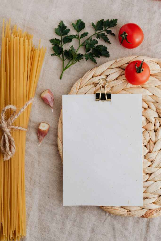 sheet of paper put near assortment of fresh ingredients