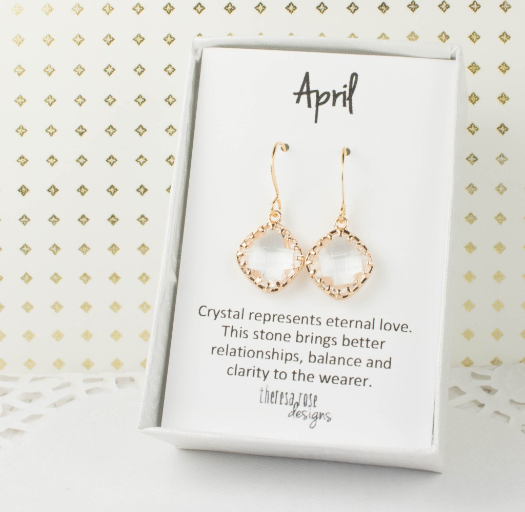 Theresa Rose Designs April Birthstone Crystal Earrings