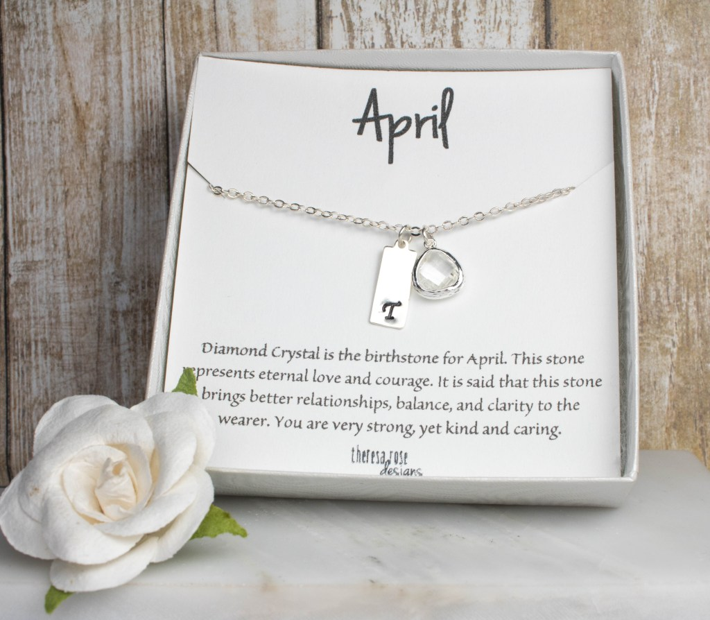 Theresa Rose Designs April Birthstone Personalized Silver Necklace