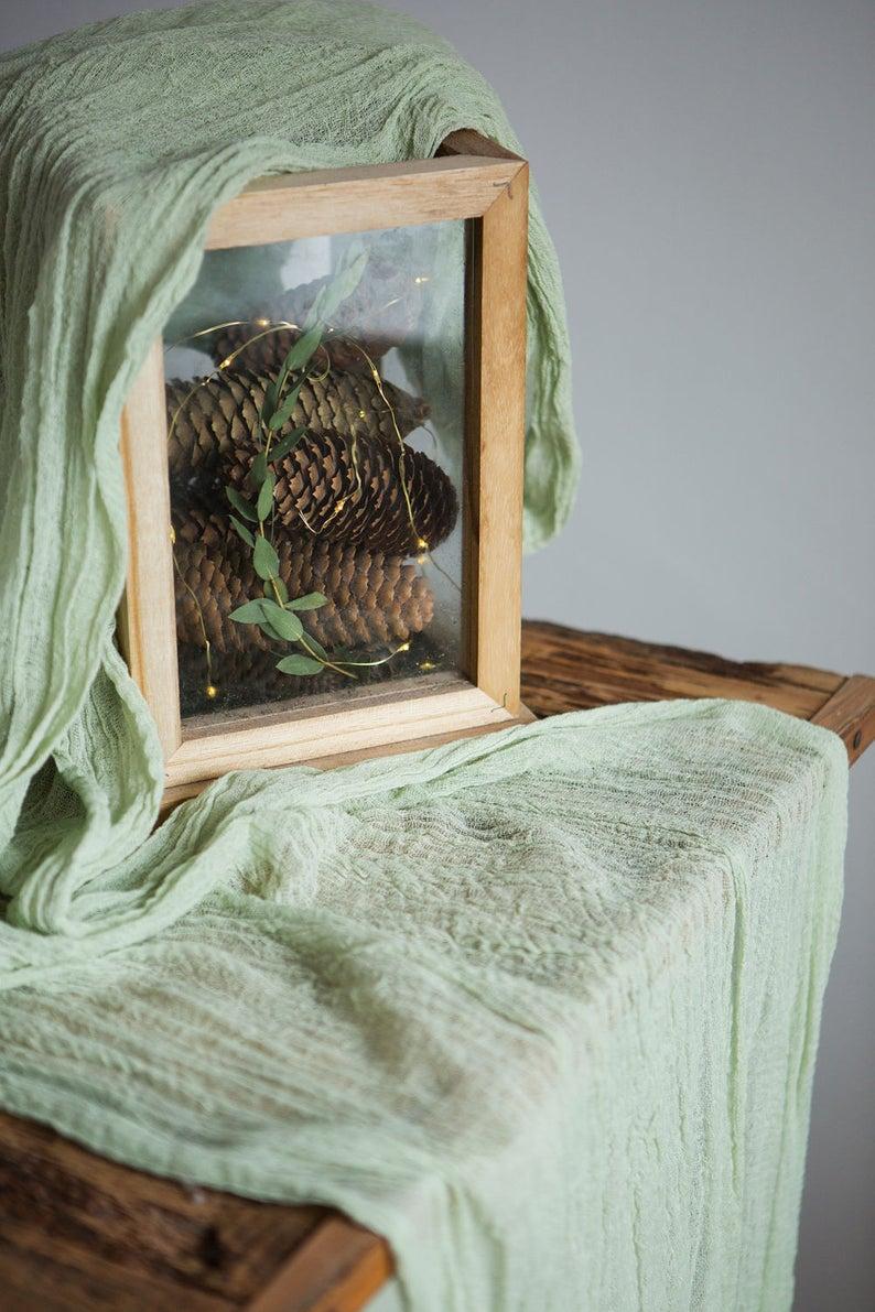 LinenLark Sage Green Table Runner