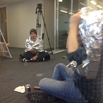 Setting up the test for Tetris in the Shell Centre. We stopped for lunch and wrapped ourselves in mylar blankets, because, well, there were tons of them and we're childish.