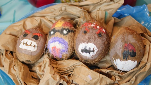 If you're looking for kakamora crafts, this is incredibly simple to make. Buy coconuts and paint faces on each one. The main colors you need are red, black, brown, and white.
