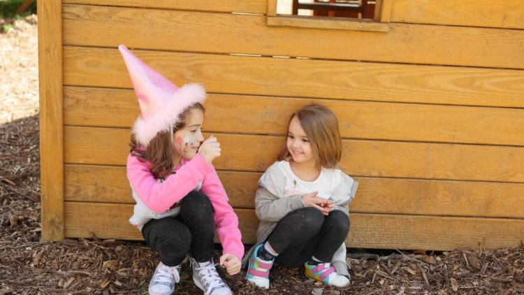While guests do the face painting, children can play on the playground next to the party tables.