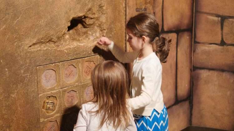One of the most interesting spaces is the Egypt room! You can go inside a tomb, row a boat across the Nile River, put together broken pottery pieces, and more.
