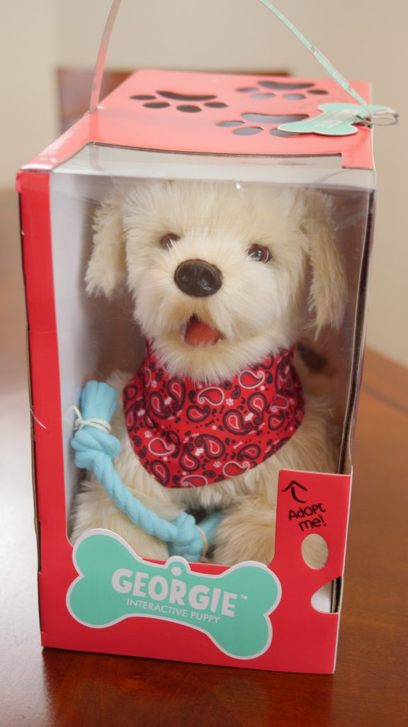 With the Georgie interactive puppy, the packaging is adorably appropriate for the toy.