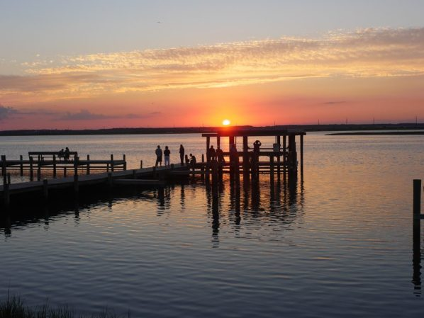 The pier at sunset at Anchor Inn in Chincoteague, Virginia