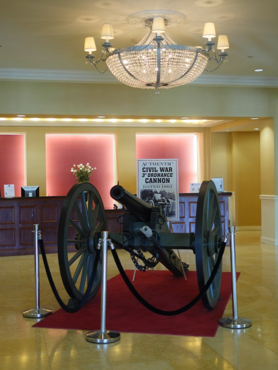 Cannon at the front desk of the Gateway Gettysburg Wyndham Hotel