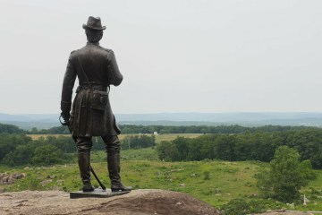 Gouverneur K. Warren Statue at Little Round Top. Gettysburg, Pennsylvania offers many activities for families to enjoy.