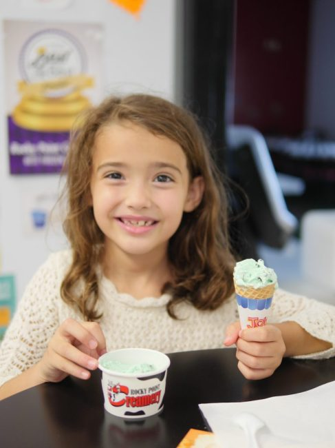 Children's cone of mint chocolate chip ice cream at Rocky Point Creamery in Frederick County, Maryland