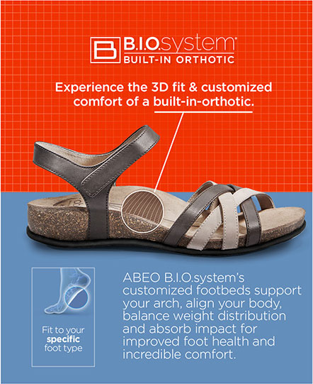 Your ABEO sandals will have an arch support that fits your foot's needs.