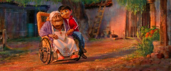 "FAMILY TIES — In Disney•Pixar's ""Coco,"" aspiring musician Miguel (voice of newcomer Anthony Gonzalez) feels a deep connection to his great grandmother, Mama Coco. Concept art visual design by Sharon Calahan and animation by Kristophe Vergne. Directed by Lee Unkrich (""Toy Story 3""), co-directed by Adrian Molina (story artist ""Monsters University"") and produced by Darla K. Anderson (""Toy Story 3""), ""Coco"" opens in U.S. theaters on Nov. 22, 2017. ©2016 Disney•Pixar. All Rights Reserved."