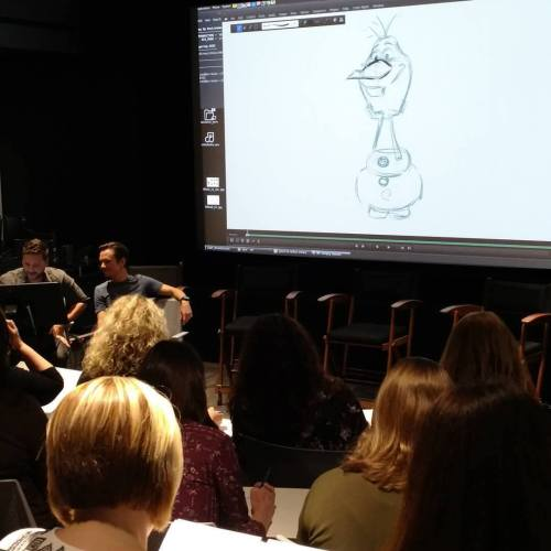 Michael Franceschi and Chad Sellers taught Theresa Pickett of Theresa's Reviews how to draw Olaf!