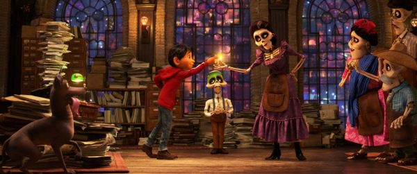 "BLESSED? – Aspiring musician Miguel learns from the head clerk in the Department of Family Reunions in the Land of the Dead that he'll need a blessing from a family member to return to the Land of the Living. But Miguel's great-great-grandmother Mamá Imelda's blessing comes with an unfortunate condition. Featuring Anthony Gonzalez as the voice of Miguel, Gabriel Iglesias as the voice of the clerk and Alanna Ubach as the voice of Mamá Imelda, Disney•Pixar's ""Coco"" opens in U.S. theaters on Nov. 22, 2017. ©2017 Disney•Pixar. All Rights Reserved."