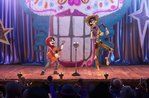 "COCO (Pictured) - UN POCO LOCO – In Disney•Pixar's ""Coco,"" aspiring musician Miguel (voice of Anthony Gonzalez) teams up with a charming trickster named Héctor (voice of Gael García Bernal) to unravel a generations-old family mystery. Their extraordinary journey through the Land of the Dead includes an unexpected talent show performance of ""Un Poco Loco,"" an original song in the son jarocho style of Mexican music written by co-director Adrian Molina and Germaine Franco for the film. ""Coco"" opens in U.S. theaters on Nov. 22, 2017. ©2017 Disney•Pixar. All Rights Reserved."
