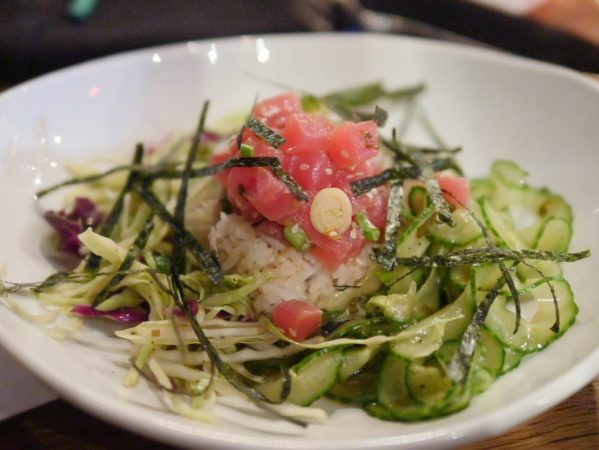 Theresa's Reviews covers Howard County Restaurant Weeks with Tuna Crudo - ahi tuna, lime, cilantro, jalapeno chile, red onion, avocado crema #HocoRestaurantWeeks