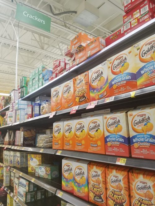 You can buy 30 oz. Goldfish cartons of Goldfish crackers at Walmart for an exclusive in-store rollback price of $6.46.