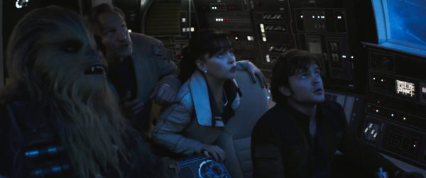 Joonas Suotamo is Chewbacca, Woody Harrelson is Beckett, Emilia Clarke is Qi'ra and Alden Ehrenreich is Han Solo in SOLO: A STAR WARS STORY. #SoloAStarWarsStory