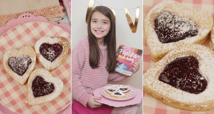 Make Raspberry Jam Heart Cookies from the American Girl Parties: Delicious Recipes for Holidays and Fun Occasions book and enter to win a copy on Theresa's Reviews!