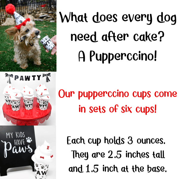 Pupperccino Cups, Dog Party Favors, Dog Birthday Hat, Paw Print Party Favors, Misfit Manor Shop